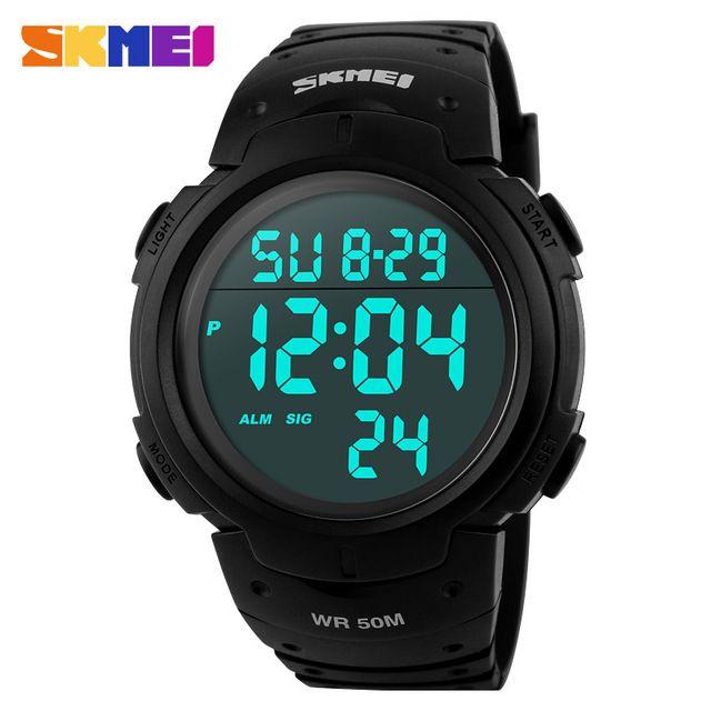 Новый 2016 Мужчины Спортивные Часы 50 М Водонепроницаемый Моды Случайные Цифровой СВЕТОДИОДНЫЙ Военные Многофункциональные Часы Наручные Часы