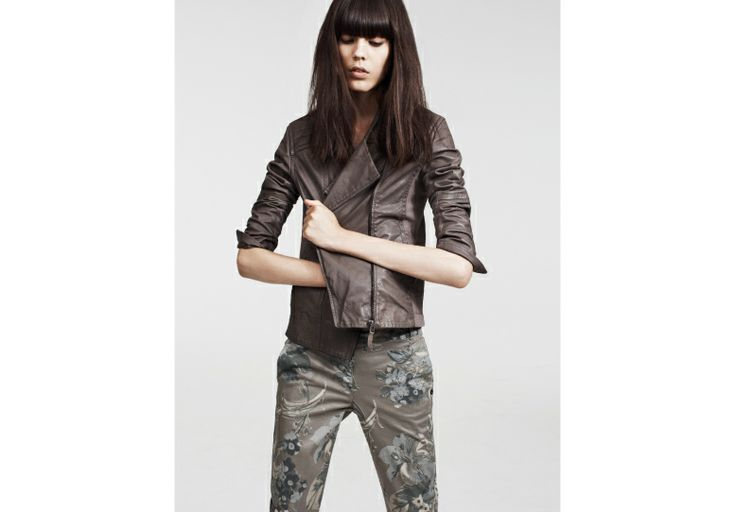 The biker jacket is always a must, like this one soft and stylish.
