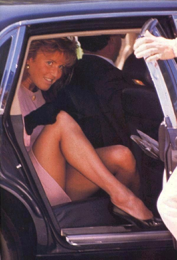 Sarah, Duchess of York, demonstrating how not to get out of a car when photographers are waiting.