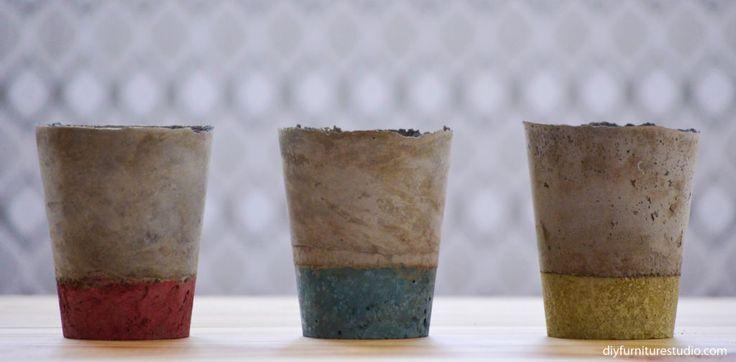 vasos de cimento DIY colorida com tinta látex.