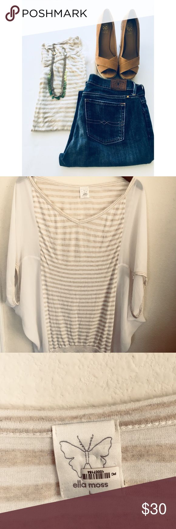 """🔸Ella Moss Cream Batwing Blouse🔸 🔸Ella Moss Cream Batwing Blouse in Large.  Cream blouse with beige stripes. 100 % Poylester. Condition :  Pre-Owned. Small snag (shown in picture)  🔸Measurements :  Pit to Pit : 32  Length top to bottom : 29""""  🚭Non- Smoking Home Ella Moss Tops Blouses"""