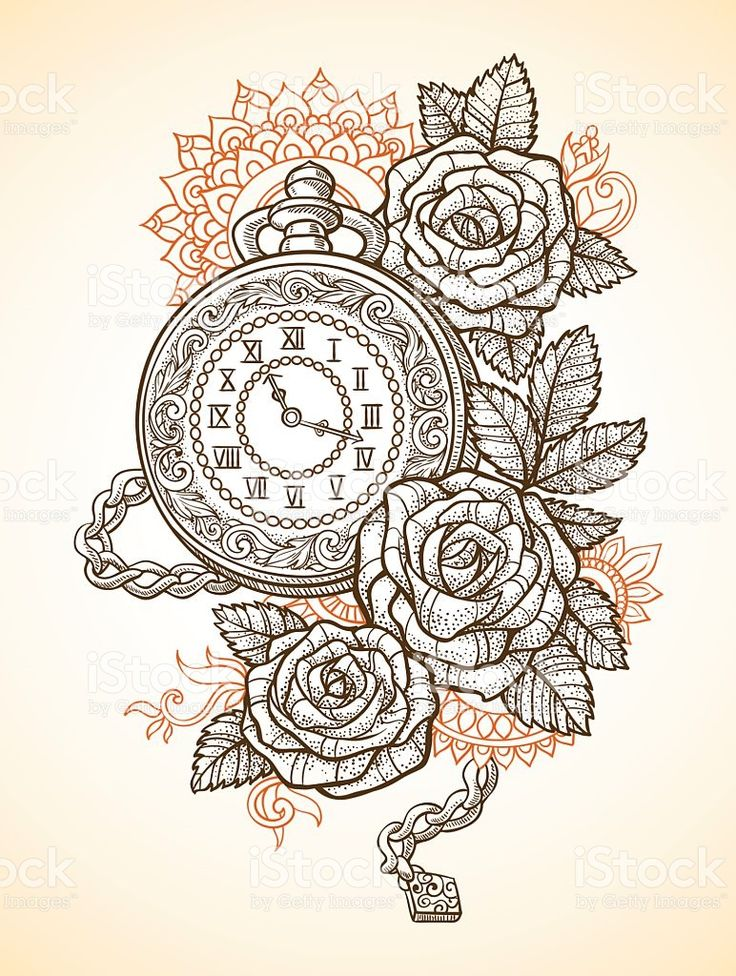 Vintage pocket watch with a pattern in roses and ornaments royalty-free stock vector art