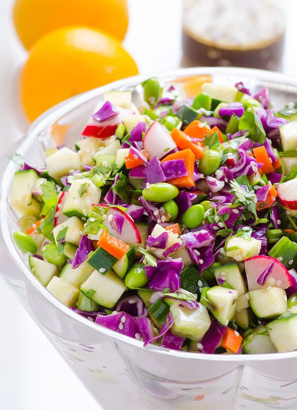 Chopped Asian Zucchini Salad Recipe with raw zucchini, red cabbage, carrots, edamame and homemade healthy Asian Sesame salad dressing. | ifoodreal.com