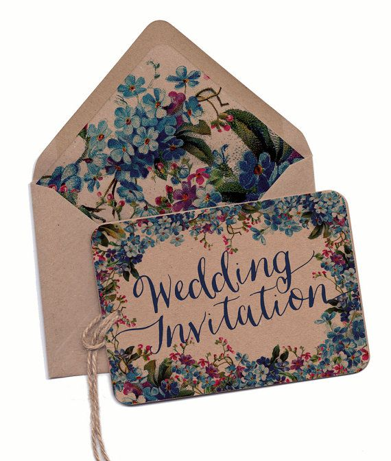 Wedding Invitation, Floral wedding invitation, Forget me not invitation, country wedding, Recycled kraft card, Illustrated, blue flowers
