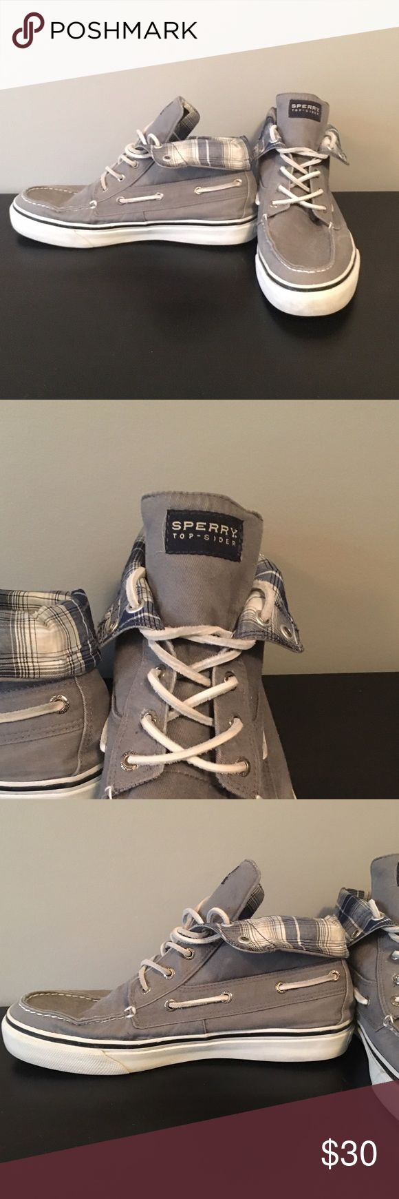 Hightop Sperry Boat shoes High top, plaid inside, barely worn, MAKE OFFER Sperry Shoes Boat Shoes