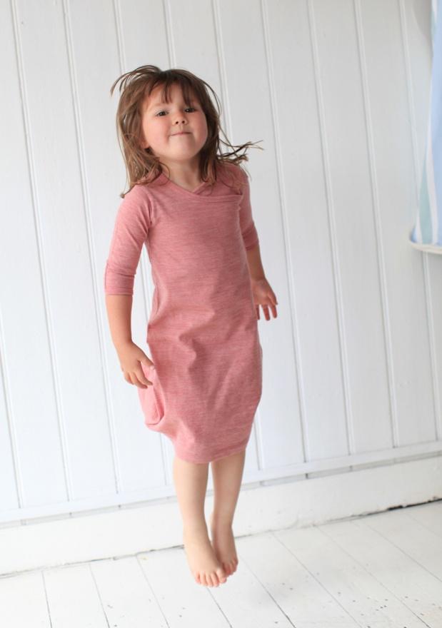 Merino Kids Gown - Raspberry