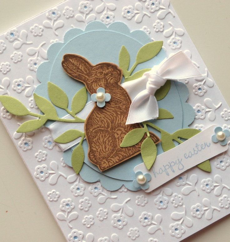 Happy Easter Chocolate Bunny Card Stampin' Up Blue by bitsofme, $5.95