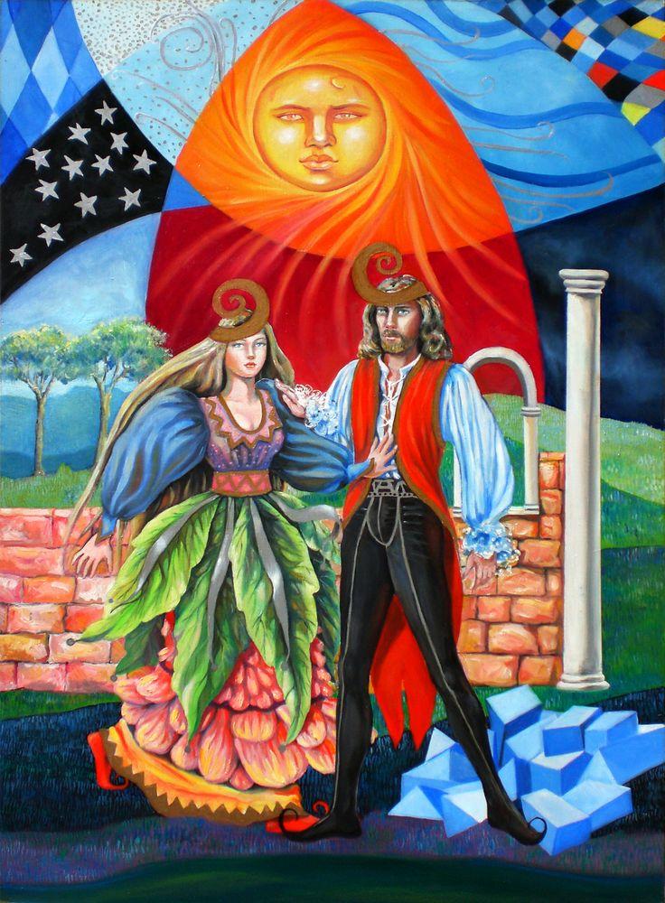 https://flic.kr/p/ehJ8Fx | the tarot - the sun 19 | oil painting on panel 50 X 70 cm