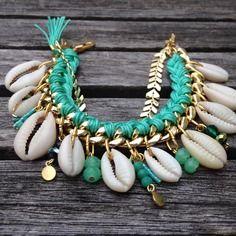 Pastel // noholita perles menthe - coquillage et perles de verre