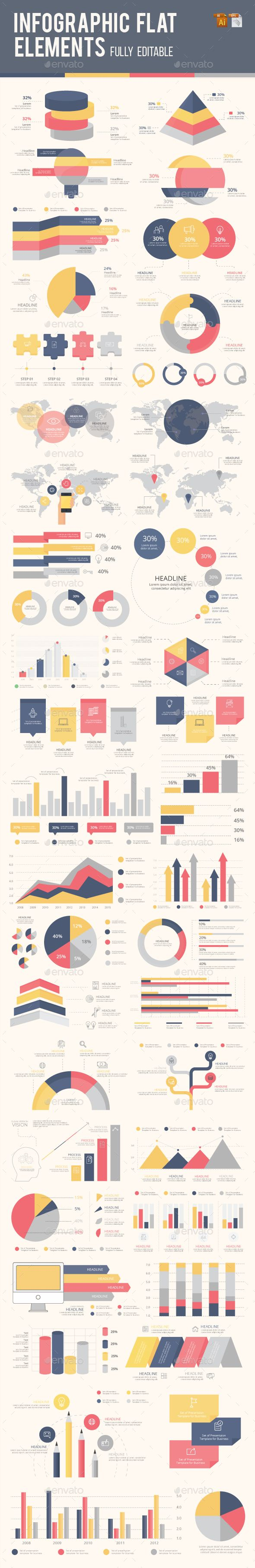 Best Infographic Flat Elements Template Vector EPS, AI Illustrator