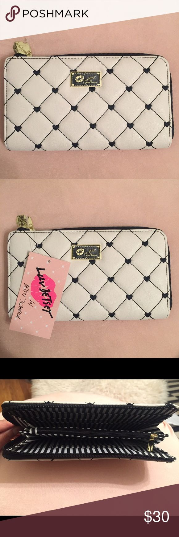 Luv Betsey by Betsey Johnson Wallet 💕 Cute Luv Betsey by Betsey Johnson Quilted Wallet - white with black details and hearts 🖤 Betsey Johnson Bags Wallets