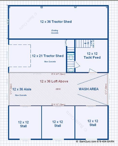 3 stall horse barn with bath and loft barn for Horse stable blueprints