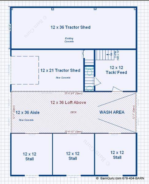 3 stall horse barn with bath and loft barn for Horse barn plans blueprints