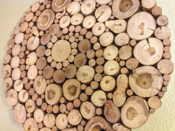 Modern Rustic Wood Slice Round Circle Spiral Wall Art Sculpture Tree Rings Circles Handmade Abstract Organic Design Repurposed Shabby Chic