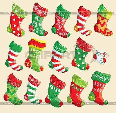 Набор различных рождественские чулки. Элементы   Векторный клипарт   ID 3884674