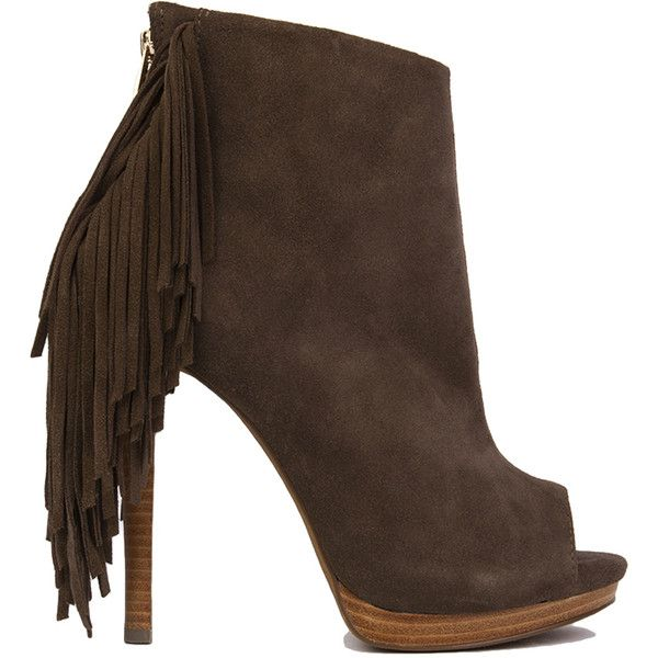 Naughty Monkey Girl's Best Fringe Booties - Taupe ($130) ❤ liked on Polyvore featuring shoes, boots, ankle booties, ankle boots, taupe, suede ankle boots, high heel ankle boots, taupe ankle boots, platform ankle boots and platform booties