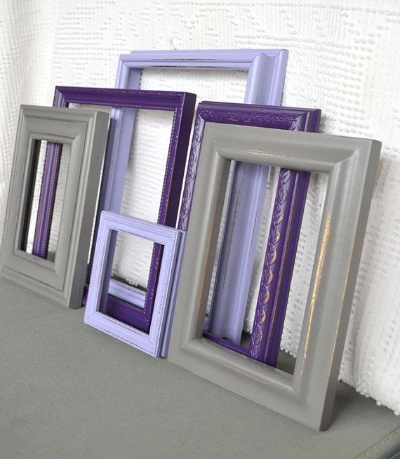 Purples greys painted frames set of 6 upcycled frames for Purple and grey living room decorating ideas