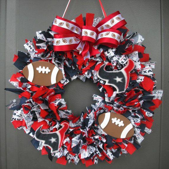 Houston Texans Cotton Rag Wreath with Embellishments by Chances12