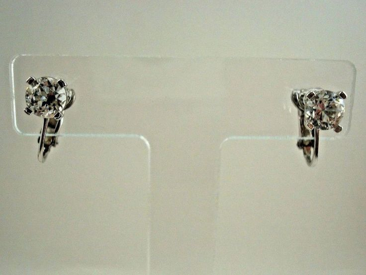 Vintage PANETTA Rhinestone Earrings Signed Silver Tone Clip On Solitaire Stone #Panetta #StudClipOn