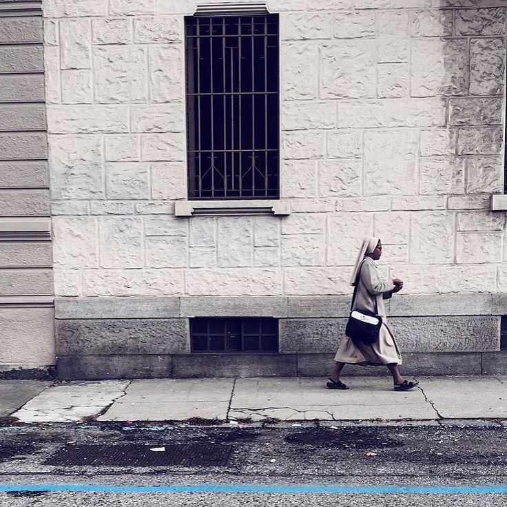 Don't #cross the #line !  #blackandwhite #suora #church #torino #walking #windows #turin #italy #blue