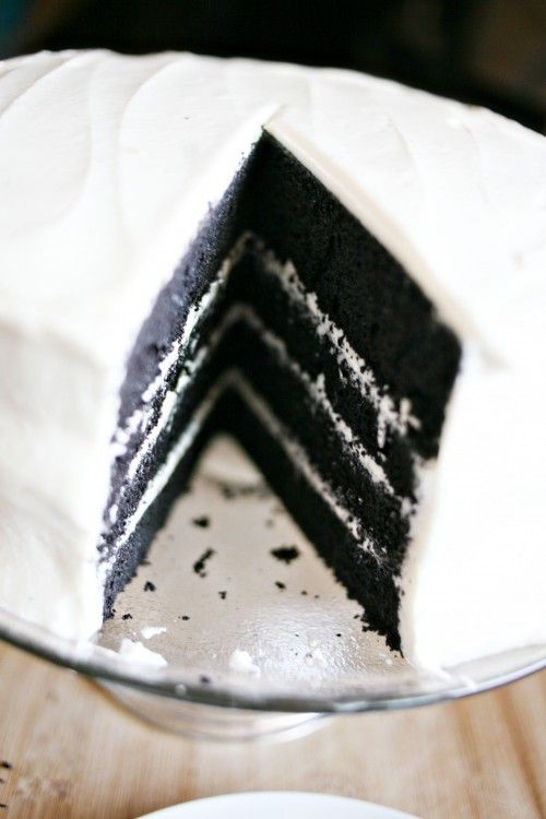 Black Velvet Cake   A couple of weeks ago, I looked at Jess and said… let's do ____ velvet cake.  We thought about it for a bit and then I said… BLACK!  And of course we immediately starting singing that song by Alannah Myles.  You know that song don't you?  Black Velvet?  THIS song?  Please say yes.  If you are tempted to say no, then don't.  You will then successfully make me feel old.  haha!!   From: shealynnbenner.com