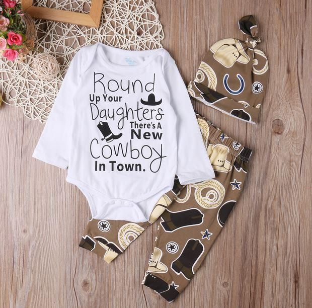 Baby Boy New Cowboy In Town 3 Pc Western Set - Shower Gift - Coming home outfit - Baby Hat