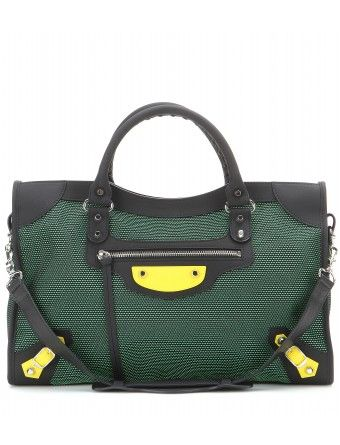 Balenciaga - Classic City mesh tote - Rejuvenated in black and green mesh, the coveted style is finished with yellow accents and the brand's signature studded hardware. Carry it by the top handle for an urban-cool finish to everyday looks - @ www.mytheresa.com