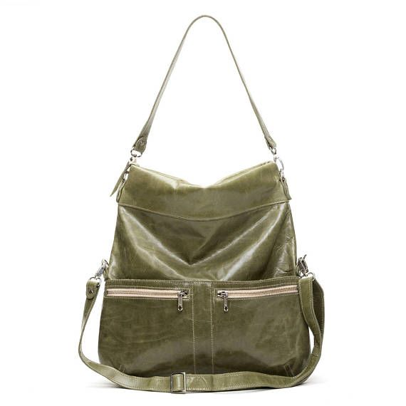 8-in-1 Large Leather Foldover Crossbody Bag Plant Green