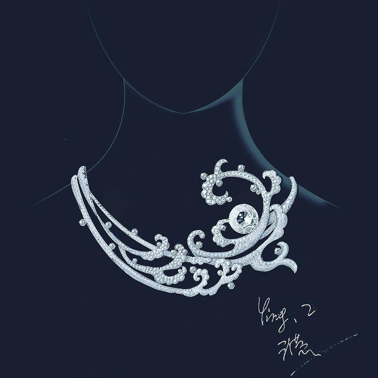 """ถูกใจ 74 คน, ความคิดเห็น 8 รายการ - (Claire)Ying ZHANG (@clairezhangg) บน Instagram: """"A new high-jewelry design. The sea give me a lot of inspirations. #jewelryart #jewelrydesign…"""""""