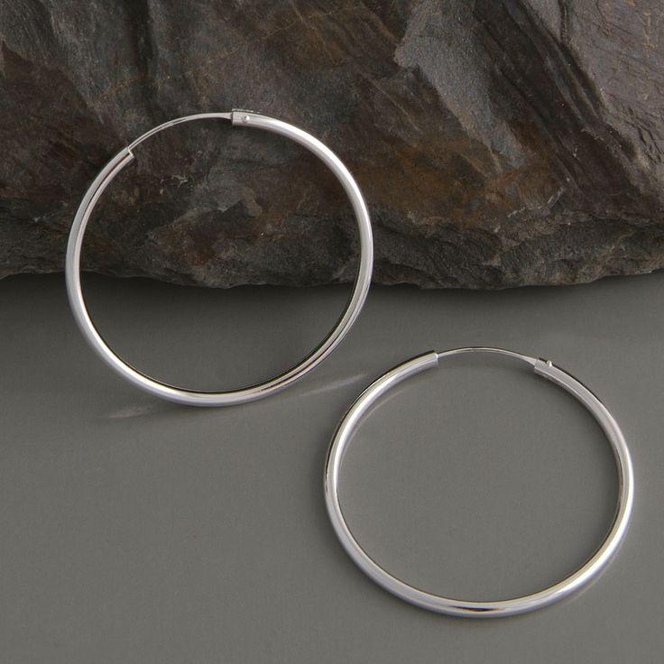 Creole Silber rund 40mm | Ohrringe aus 925 Sterlingsilber | edelwert