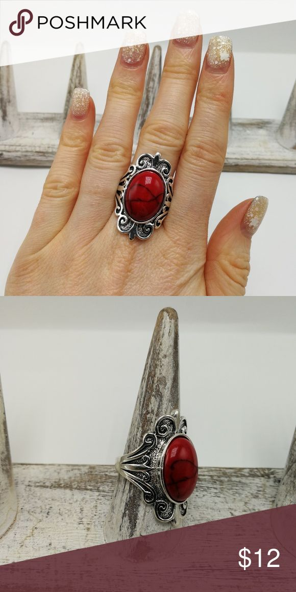 🌸🌿🌸 5 for $25 🌸🌿🌸 New with tags! Gorgeous Natural Gemstone White Buffalo Turquoise howlite Tibet Silver ring. Mixed metals. Lead and nickel free. Price is firm. No holds. Bundle to SAVE. R#2641 PLUS SIZE *RED TURQUOISE* Jewelry Rings