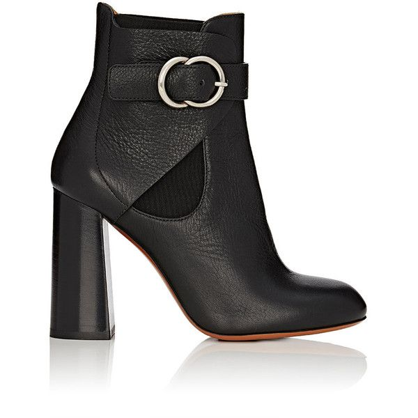 Chloé Women's Millie Leather Chelsea Boots ($1,050) ❤ liked on Polyvore featuring shoes, boots, ankle booties, ankle boots, black, black leather bootie, black ankle boots, high heel booties, black bootie boots and black leather ankle booties