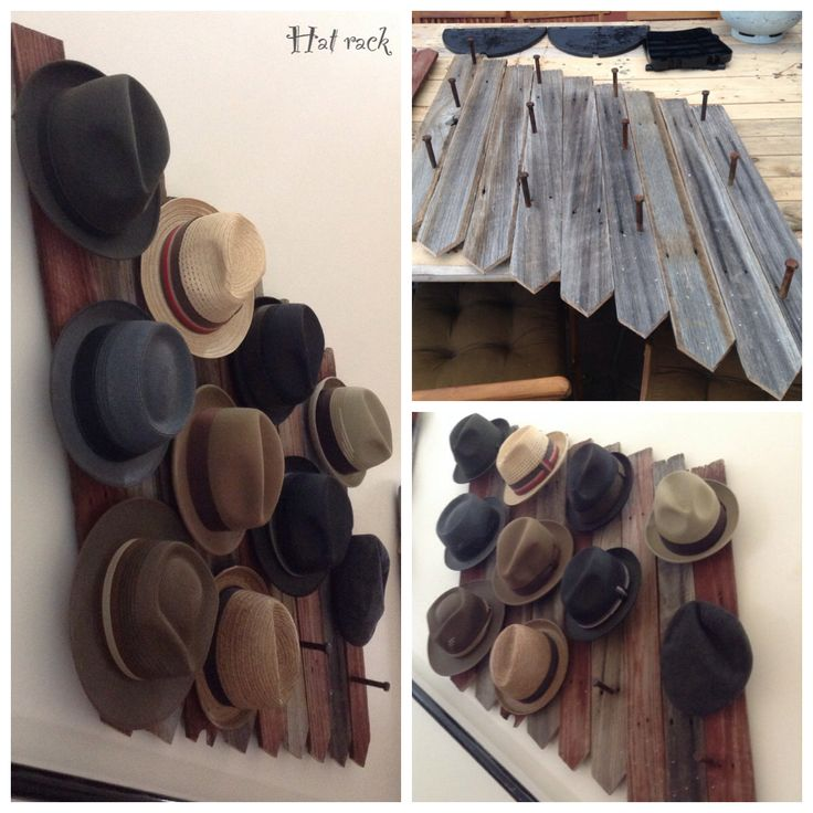 Rustic Hat rack. Build with old fencing And rusted bolts. It looks great in the stair case!
