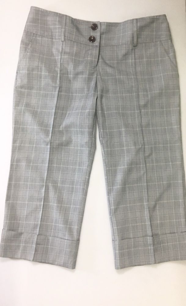 TRACY EVANS Womens Gray Plaid Cropped Dress Pants Size 11 / Career Capri Trouser #TracyEvans #CaprisCropped