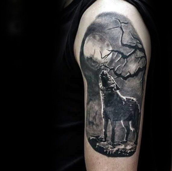 Reaic Wolf Howling At Moon Guys Arm Tattoo Designs Source