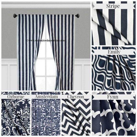Navy Blue Curtain Panels Modern Geometric by exclusiveelements