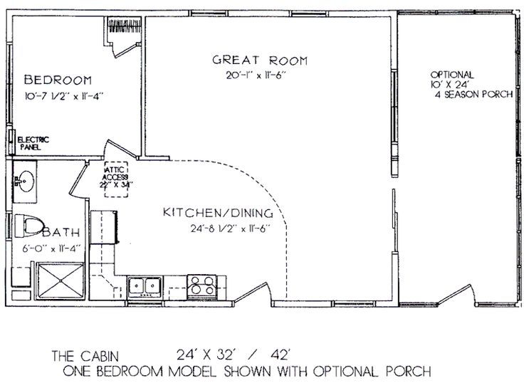 One room cabin floor plans one bedroom model 24 39 x 32 for One bedroom log cabin plans