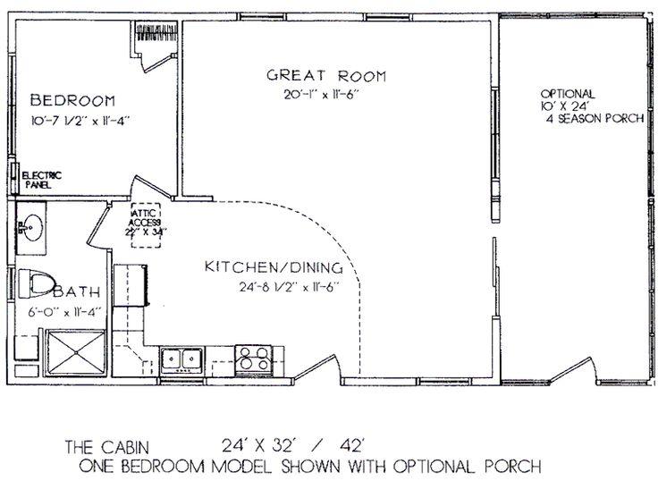 One Room Cabin Floor Plans One Bedroom Model 24u0027 x 32u0027 ( view - one bedroom house plans