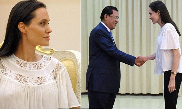 Angelina Jolie arrives in Cambodia to meet Prime Minister Hun Sen