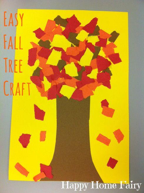 easy fall tree craft! construction paper, glue - BAM. Cuteness