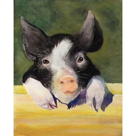 WATERCOLOR PIG ART Pig Print Woodland Art Nursery Art Art