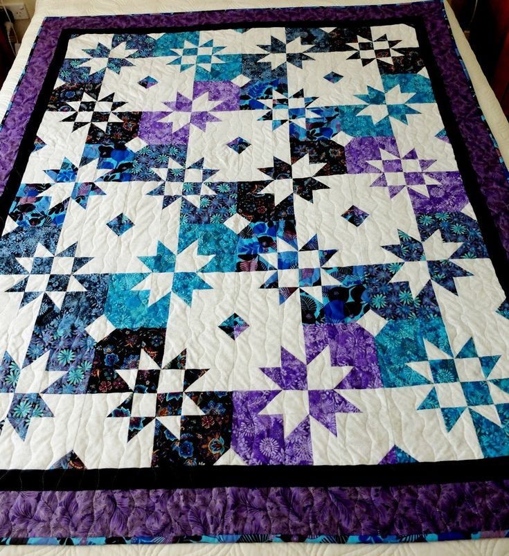 Homemade Star Patchwork lap quilt, quilted throw, lilac, turquoise, blue, purple by StephsQuilts on Etsy