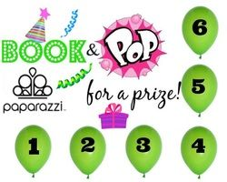 Wanna POP FOR A PRIZE?  Book a fun and easy Facebook party with me.... and you get to pop a balloon!!  Each balloon holds a great prize!! www.PaparazziByAlicia.com