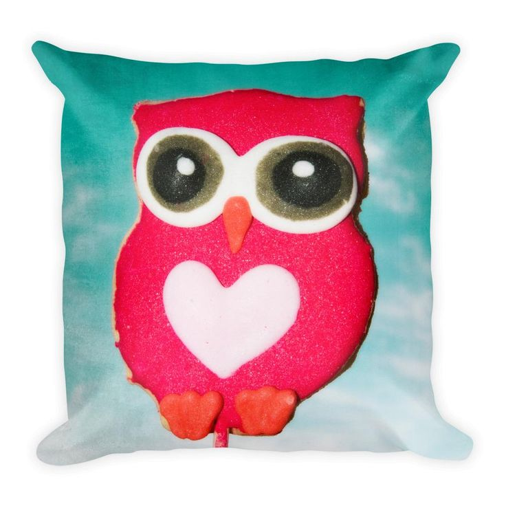"""Frosted Pink Owl Cookie Aqua Background Throw Pillow 18x18"""""""