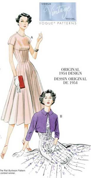 Re-issue of Vintage 1954 Vogue VP920 / V8999; Women's Gored Fit and Flared Dress and Bolero Sewing Pattern; Pullover, fit and flare dress has bias neck and armhole binding, close-fitting bodice, raised empire waist, gored skirt, inside belt and side zipper. A: Neck binding extends into tie ends at back keyhole closure. Loose-fitting, interfaced, lined bolero has pointed collar, hook & eye closing, French darts and shaped hemline.