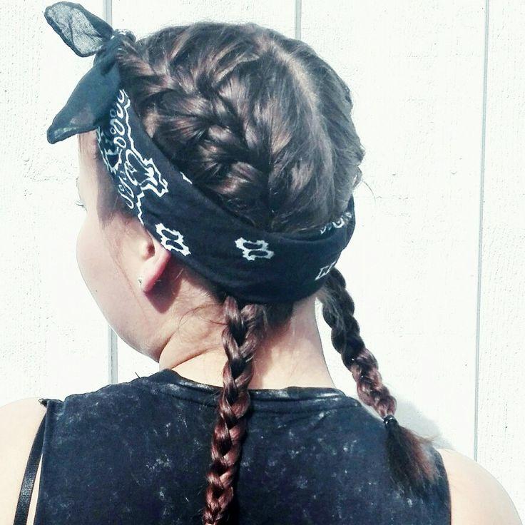 #bandanahairstyle #bandana #braids #frenchbraids