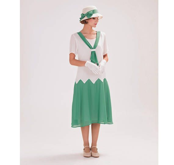 1920s zig zag dress in off-white and sea green Great Gatsby