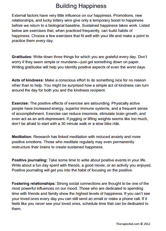 Building Happiness Exercises Worksheet Therapy