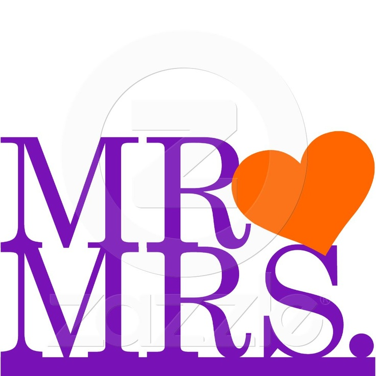 Mr & Mrs Purple & Orange Heart Cake Topper Photo Sculptures