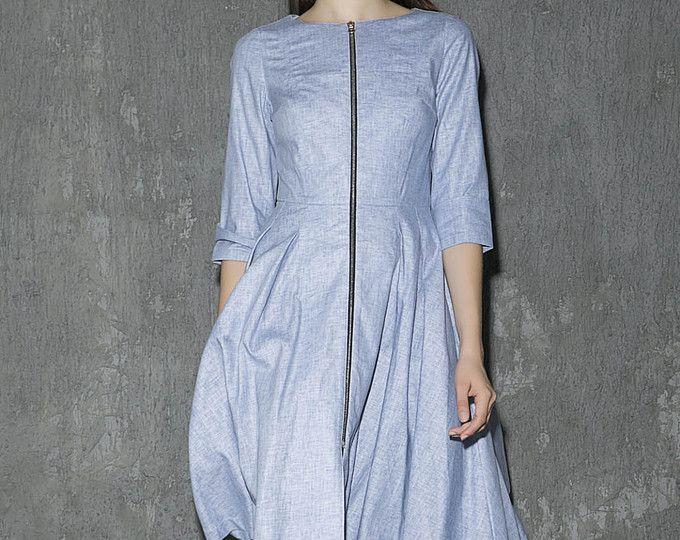 Vestito blu, vestito di lino, Vestito longuette, Fit e flare Abito, Fall dress, abito signore, vestito da partito, abito a pieghe, abito moderno, Custom made 1312